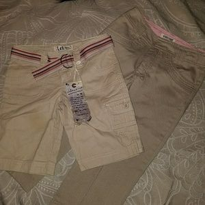 2 pairs size 7 khaki shorts and capris